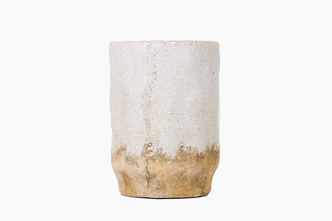 Crackle Glazed Ceramic Pot Round