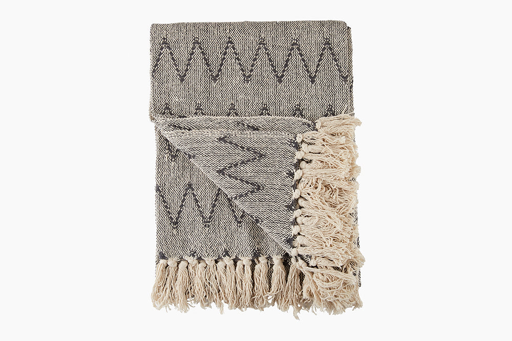 monochrome woven cotton throw