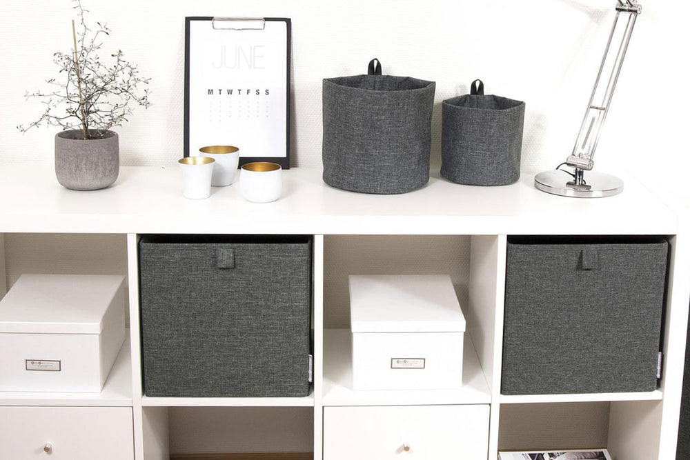 Grey Fabric Storage Cube in shelving