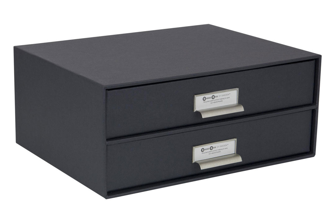 Birger dark grey 2 drawer desk organiser