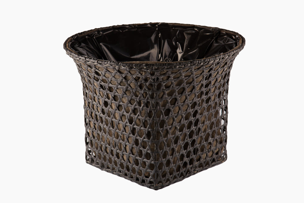 Vivian Rattan Basket in Grey Black Finish