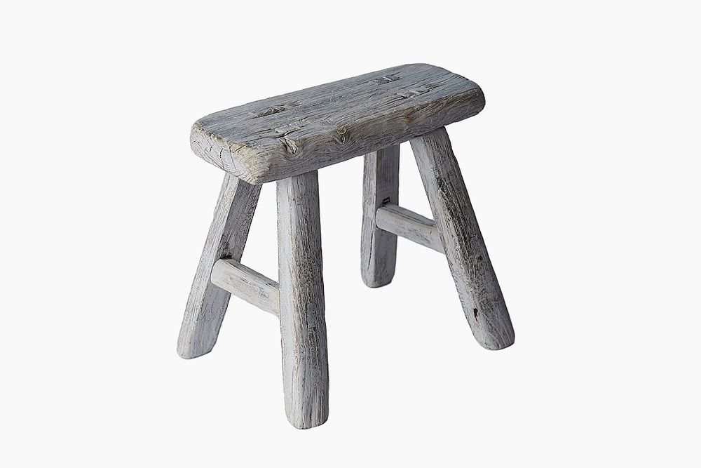 Waxed Wooden Vintage Stool