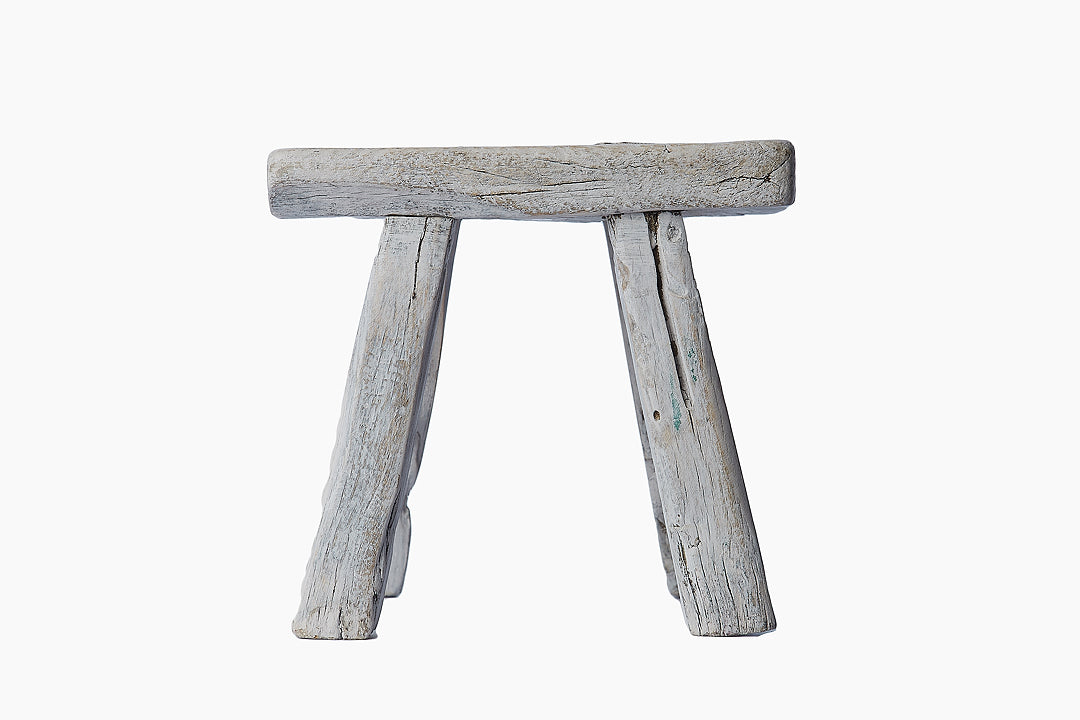 Vintage Silver Grey Wooden Stool