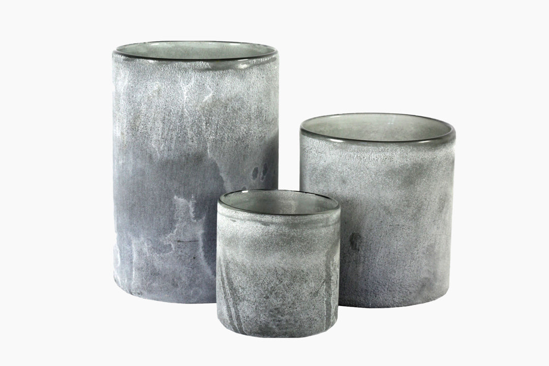 Grey Frosted Candle Holder