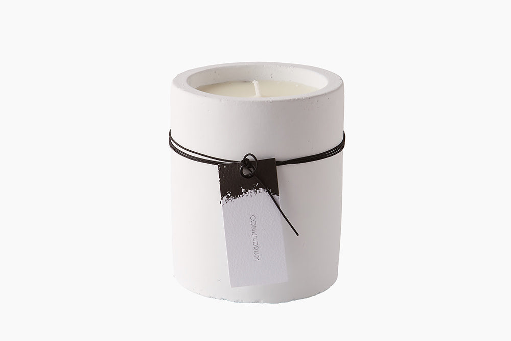 Candle in White Stone -  Conundrum by On Interiors