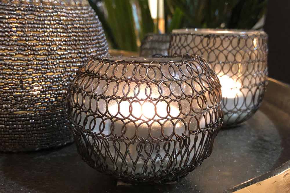 Copper Wire Tea Light Holder