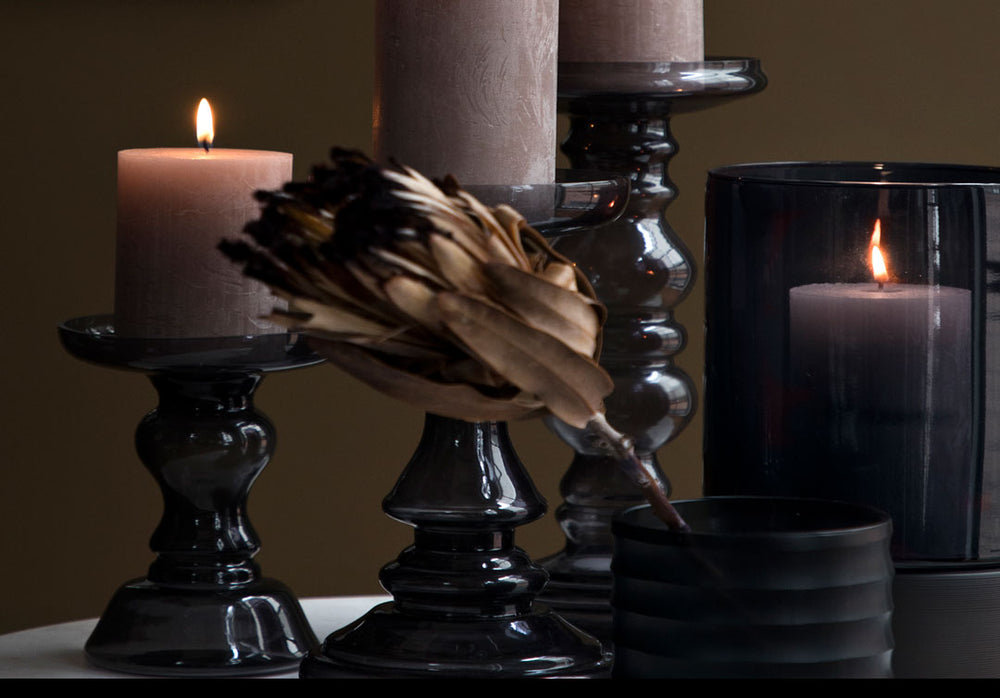 Black Glass Candle Holder - Mary by Cozy Living