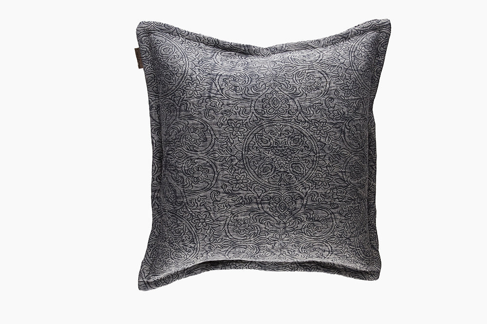 cotton jacquard charcoal cushion