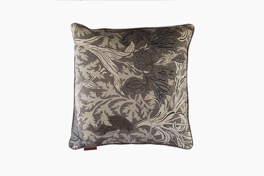 Velvet Art Deco Print Cushion - Mud by Cozy Living