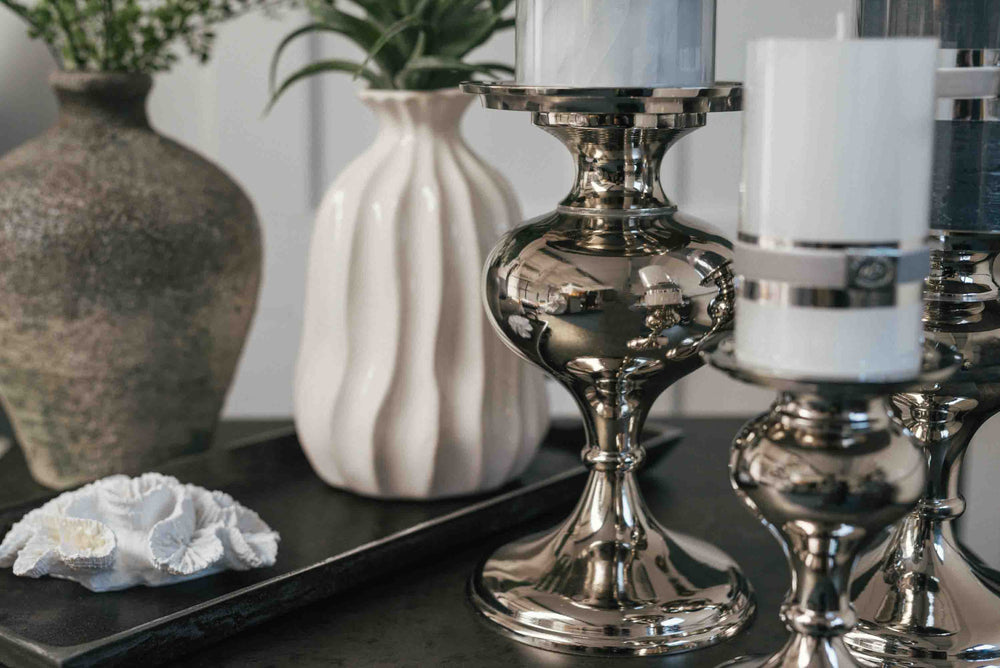 brushed nickel pillar candle holders