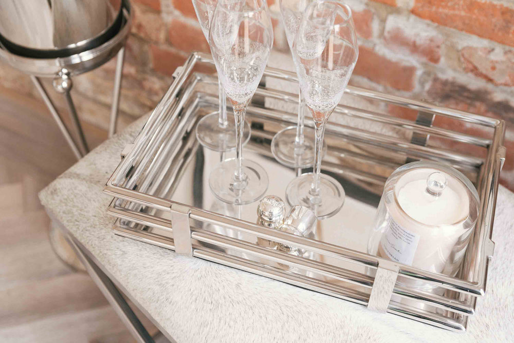 luxury silver mirror tray
