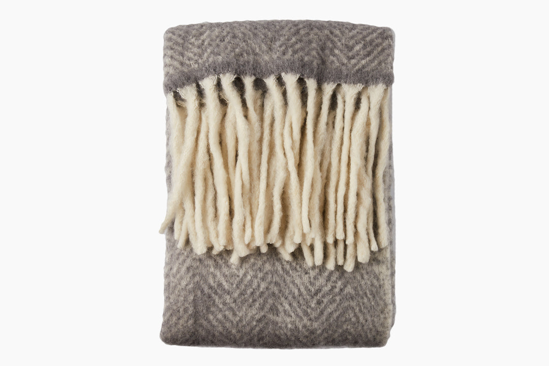 Silver Grey Mohair Throw by Cozy Living