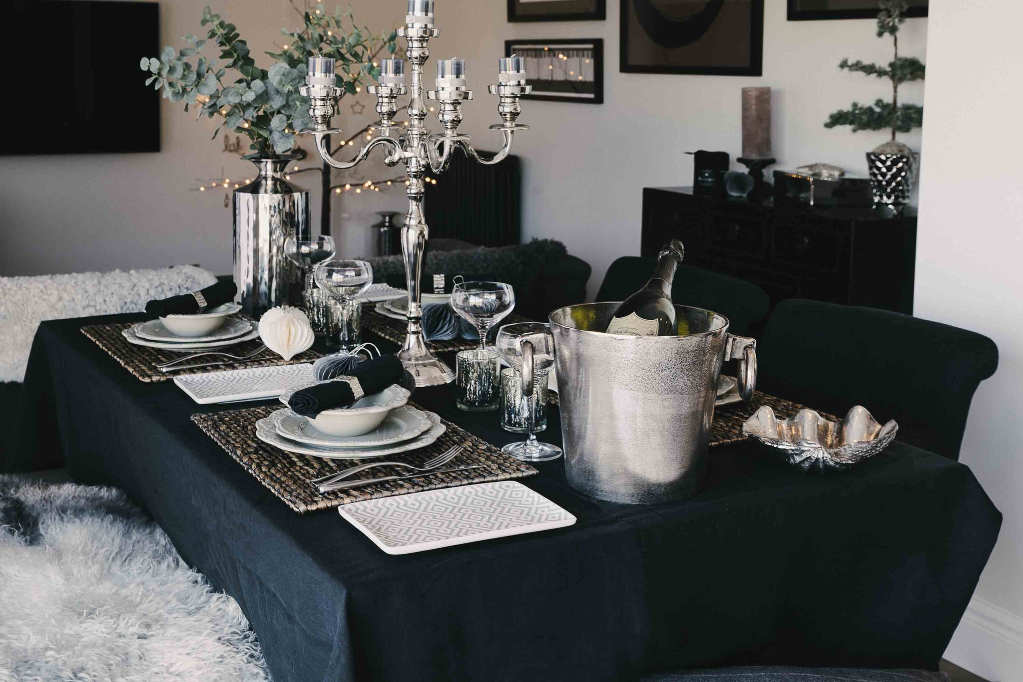 Black Linen Tablecloth - Trapani by On Interiors