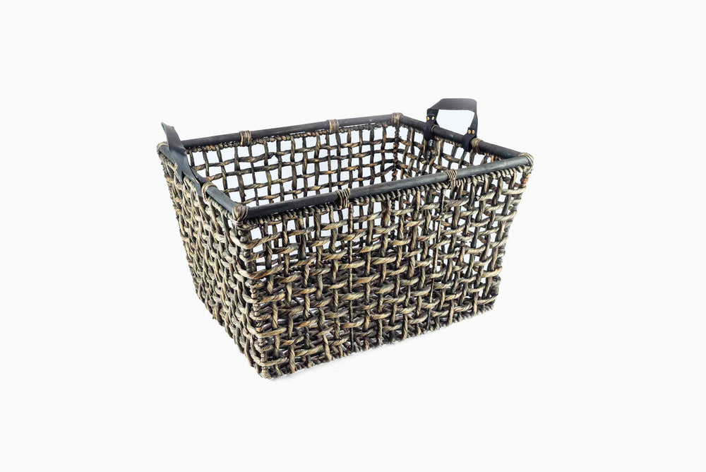 Water Hyacinth Basket with Leather Handles