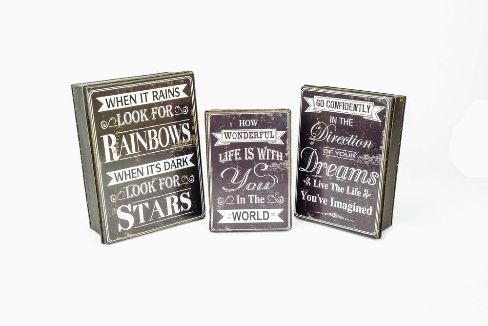 Grey Metal Tins with Quotes
