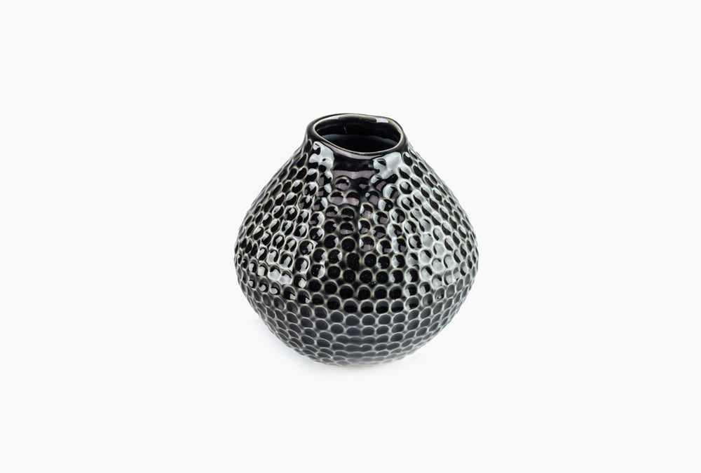 Black Dimpled Effect Ceramic Vase