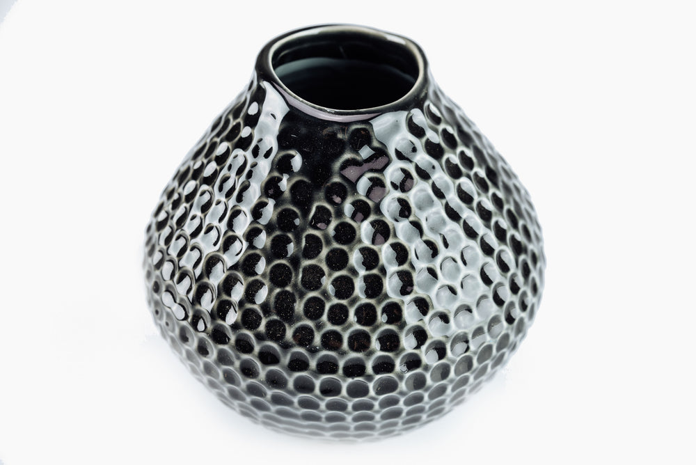 small black ceramic vase