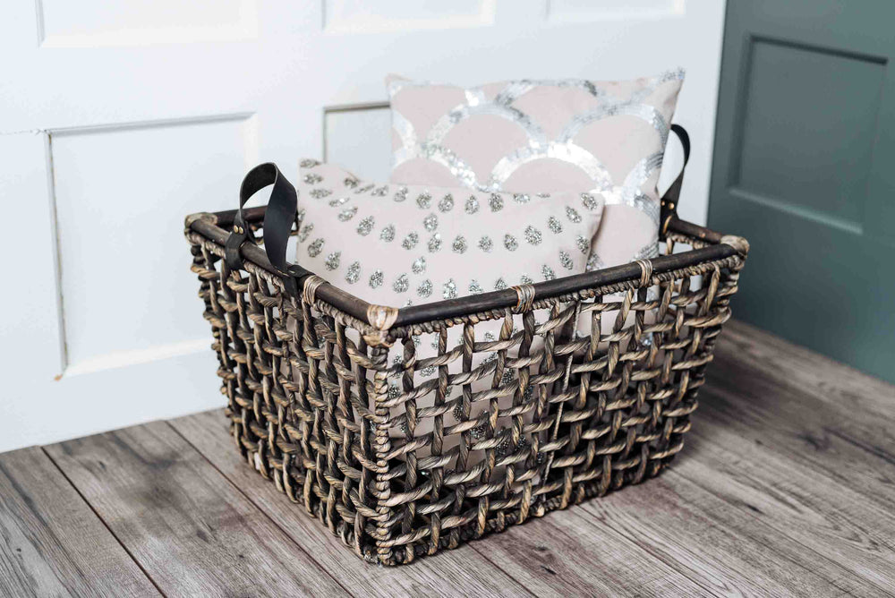 black water hyacinth baskets