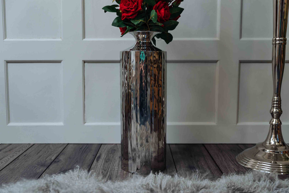 large chrome flower vase