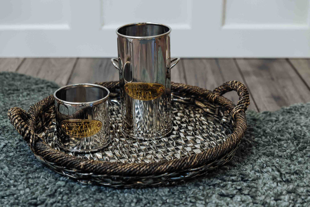 Silver Woven Round Tray with Handles by PR Rogiers