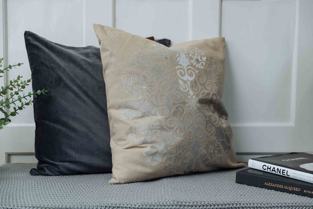 silver cotton cushion