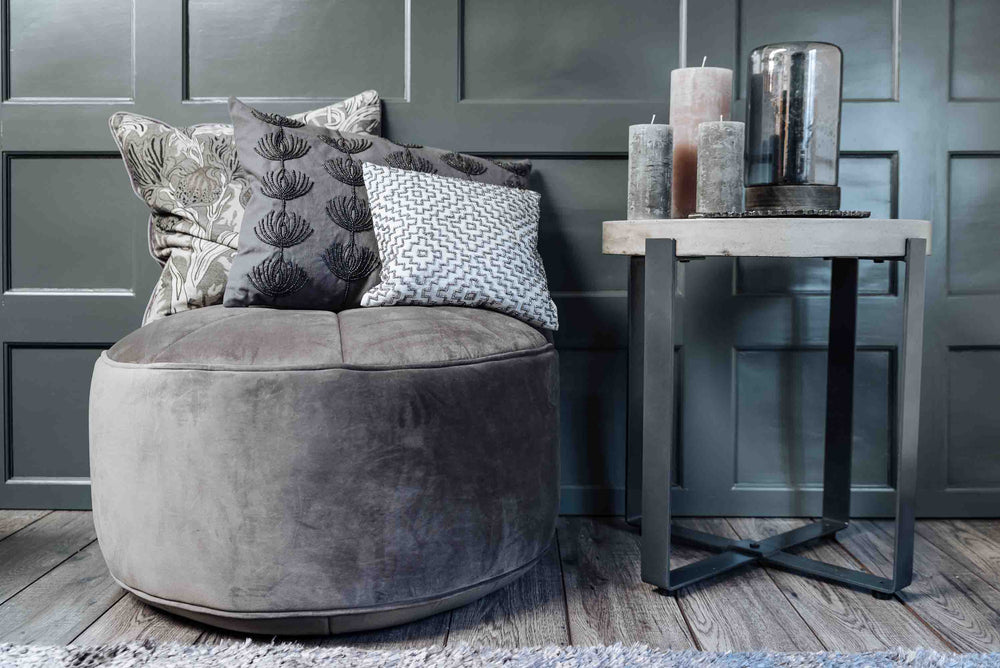 luxury grey pouffe