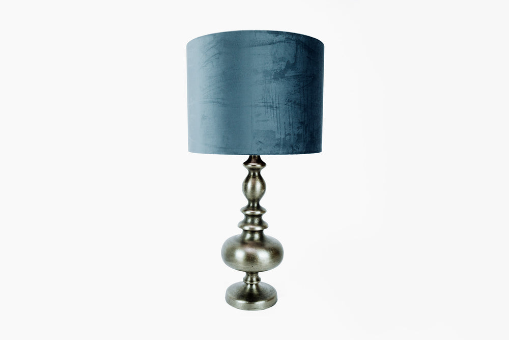 bronze lamp with blue shade