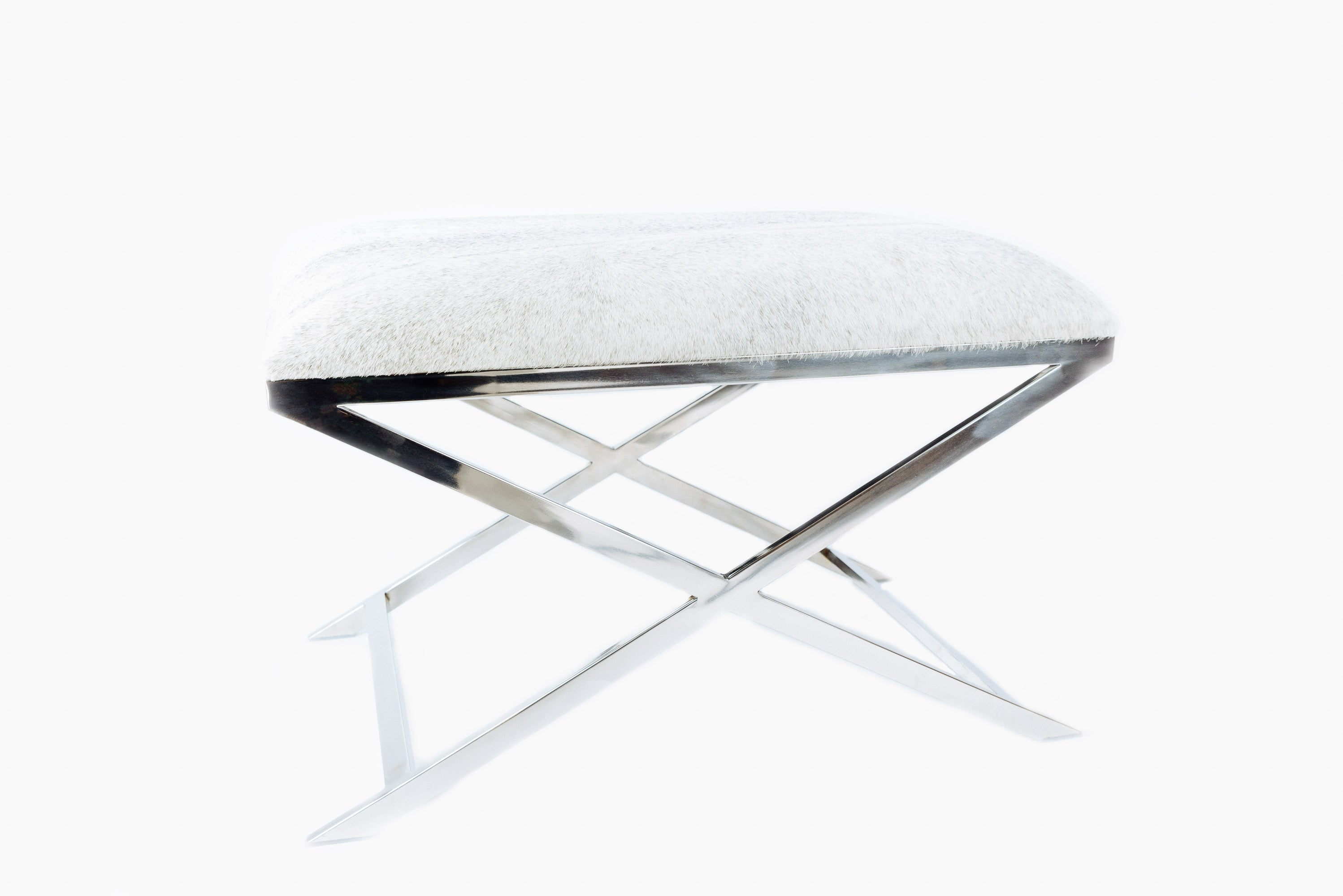 Super Nickel Silver Grey Cow Skin Stool By Light And Living Ncnpc Chair Design For Home Ncnpcorg