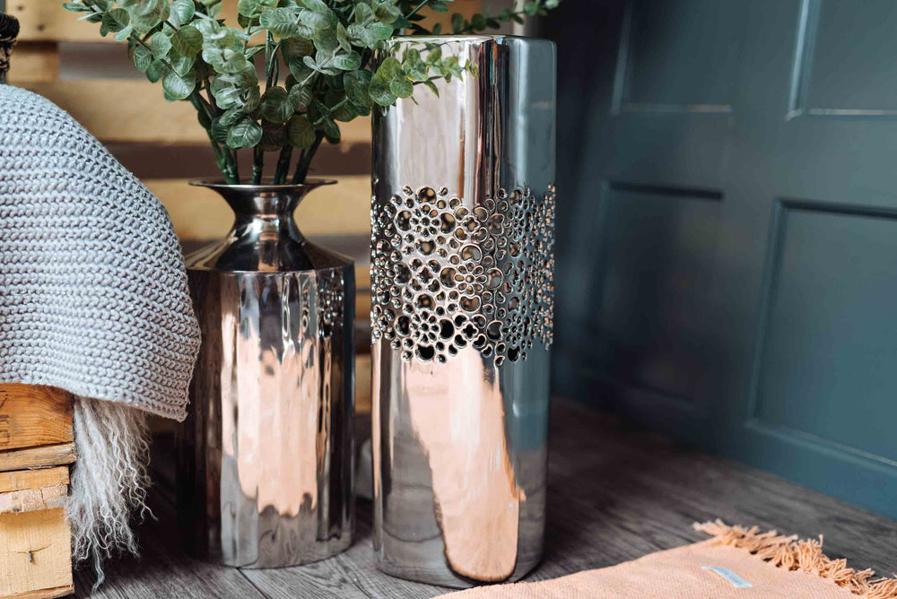 Tall Patterned Silver Vase