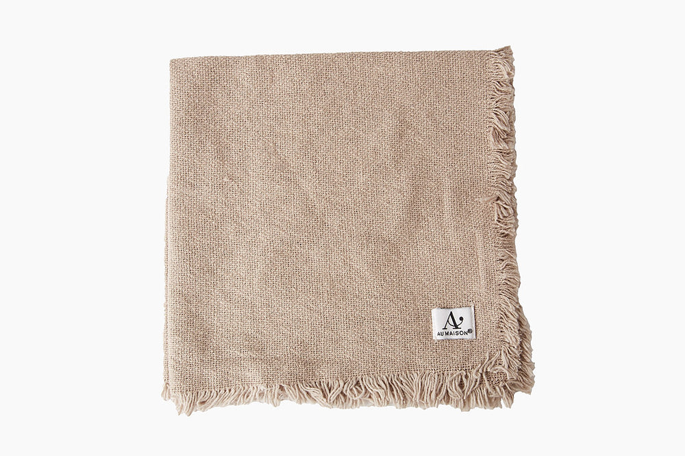 Frayed Edge Napkins in Latte by Au Maison