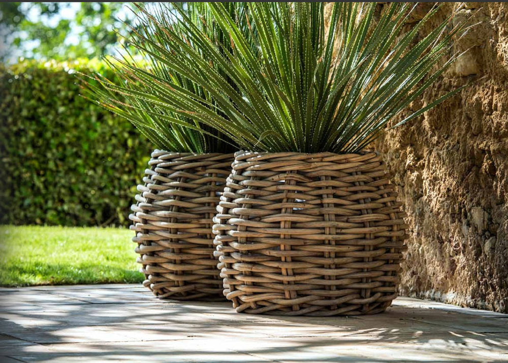 Hex Palm Basket Natural Rattan