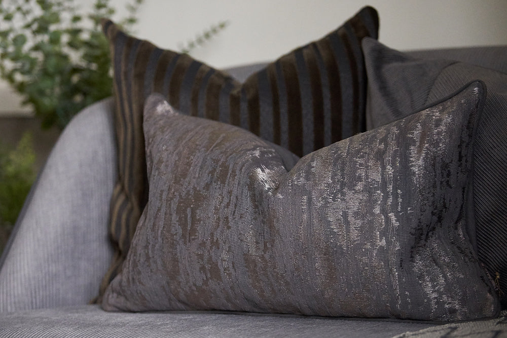 charcoal velvet jacquard cushion