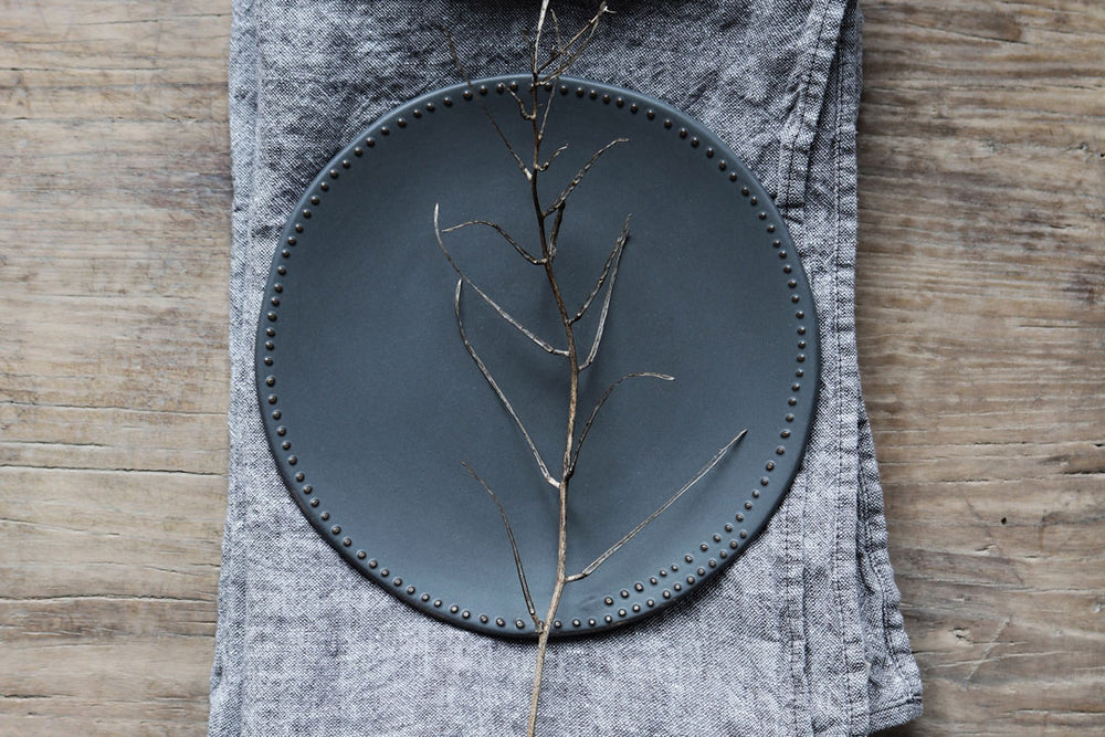handmade side plates in grey