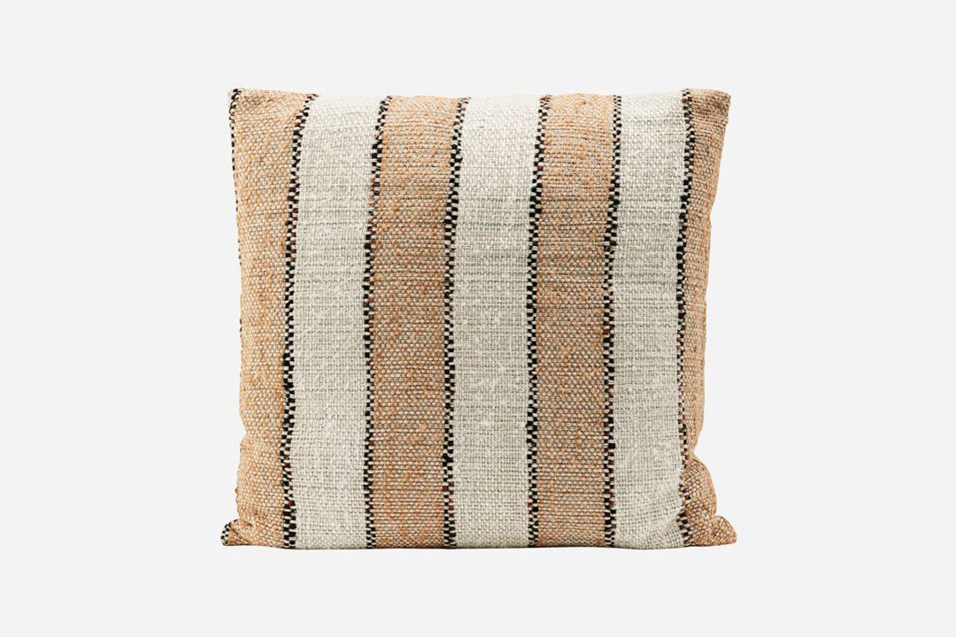 Orange and natural linn cushion