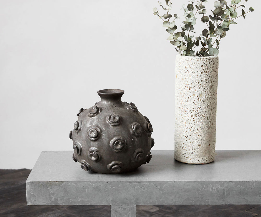 marv black earthenware vase