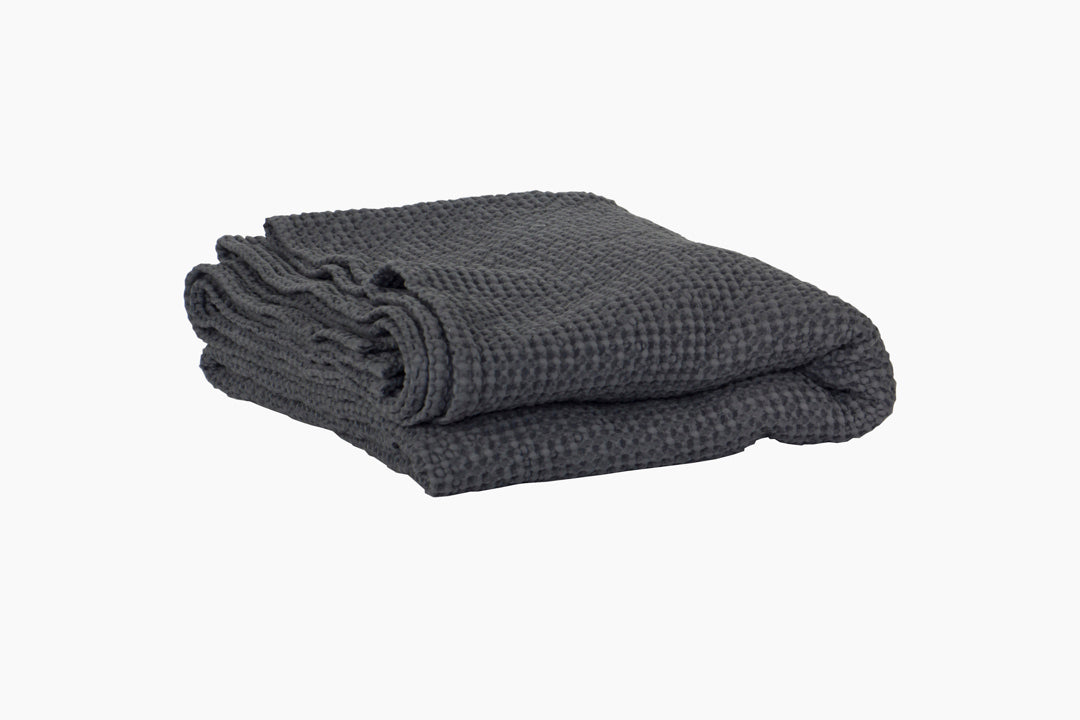 waffled cotton blanket in dark grey