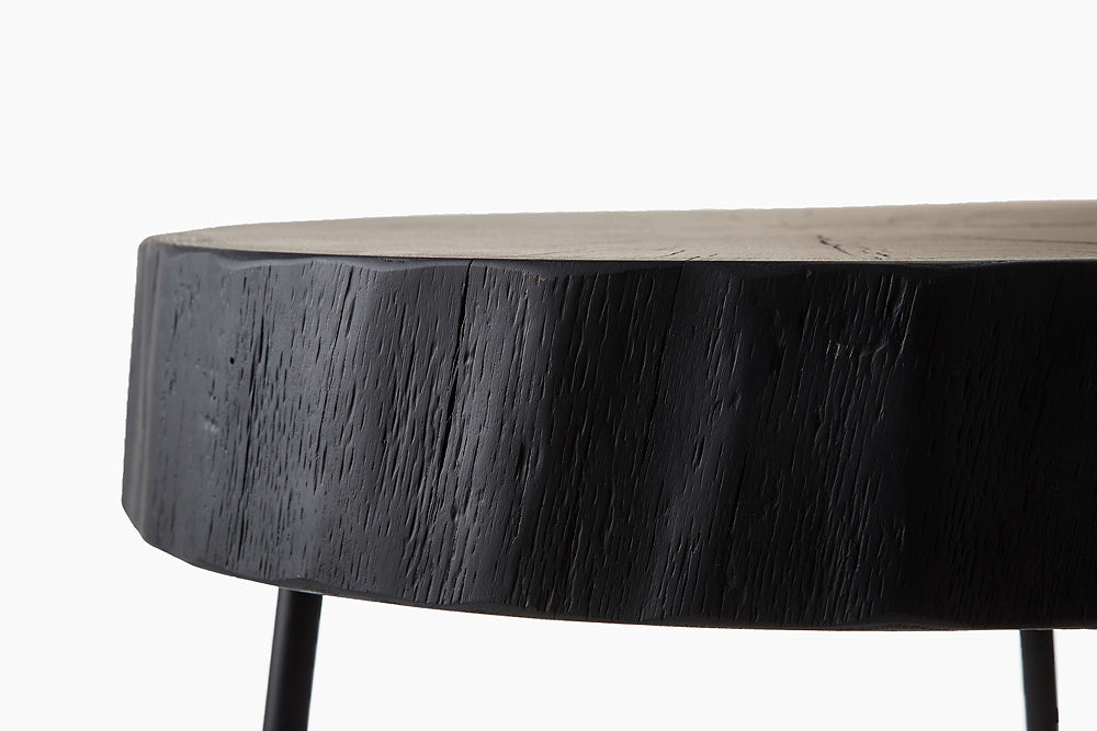 Wild Oak Side Table in Black Finish