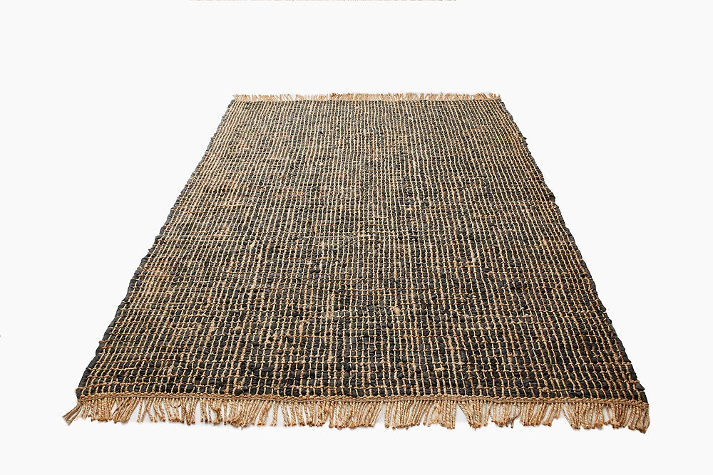 black leather jute rug
