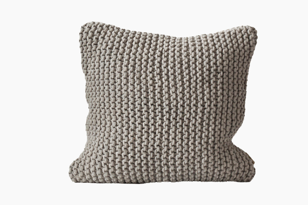 light grey cotton rope cushion