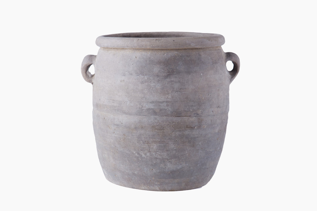 vintage grey pot by snowdrops