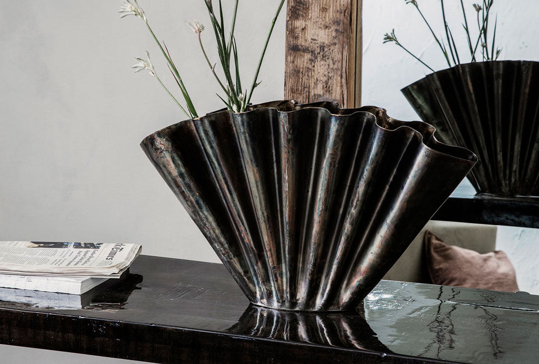 metallic fan vase by House Doctor
