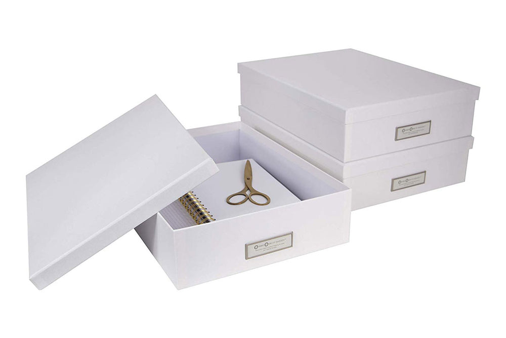 White Oskar document boxes
