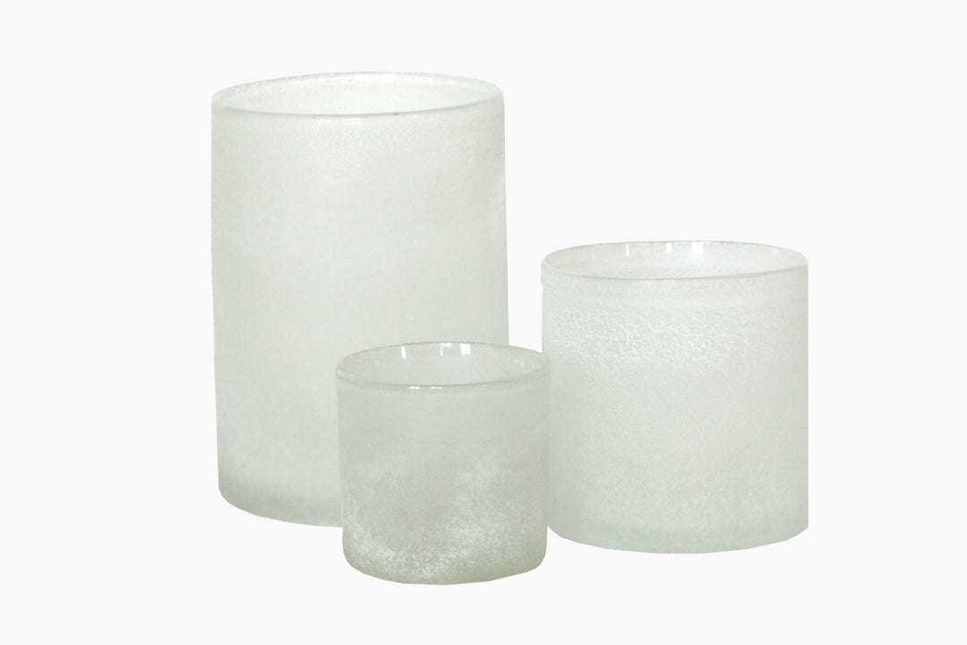 White Frosted Candle Holder