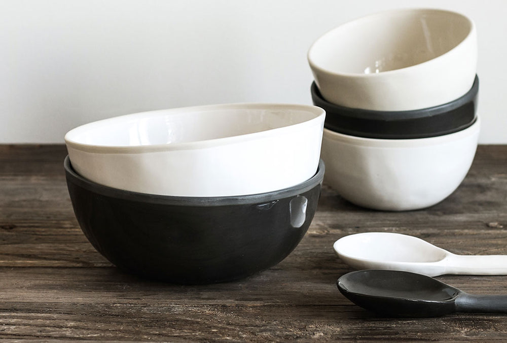 Black and White porcelain bowls and spoons