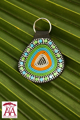 Teardrop keyring in green, blue, white and yellow
