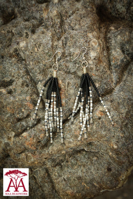 Tassel Earrings in black, white and silver
