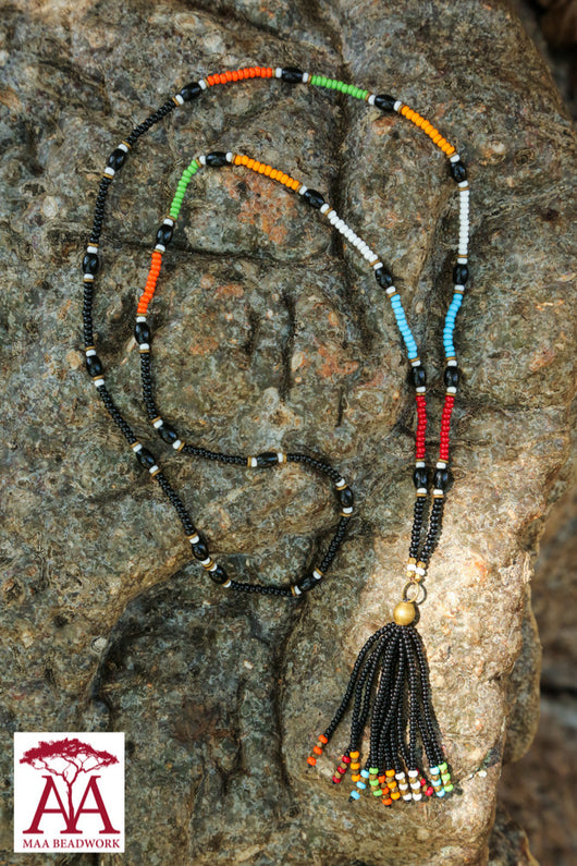 Tassel necklace in black with bright colours