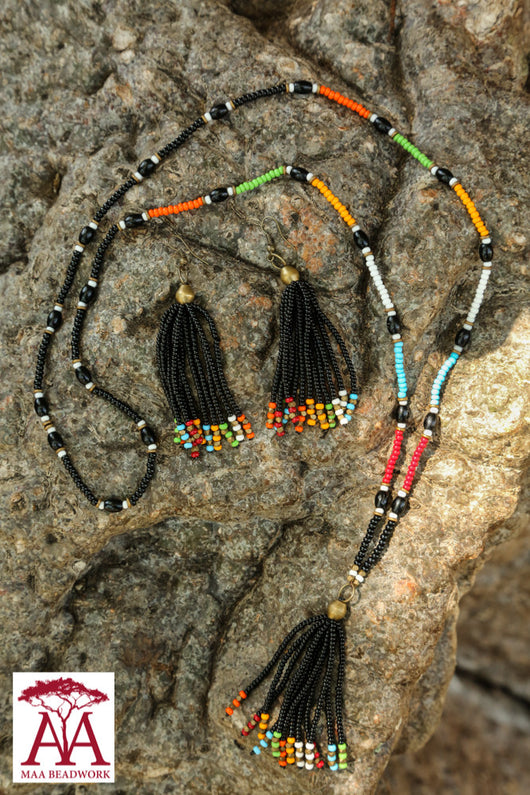 Black Tassel set with bright colours