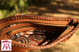Fully Beaded Pocket Clutch/Shoulder Bag in tan leather traditional beading