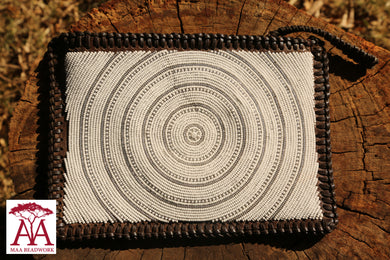 Fully Beaded Pocket Clutch/Shoulder Bag dark brown leather & white beading